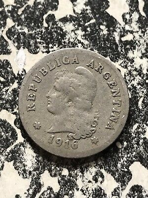 1916 Argentina 10 Centavos Lot#7613 Low Mintage! Key Date!
