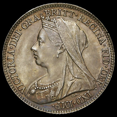 1897 Queen Victoria Veiled Head Silver Sixpence, UNC #2