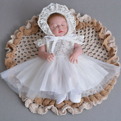 Newest Girls Baptism Gown Breathable Lace Christening Dress Hat+Dress+Headband