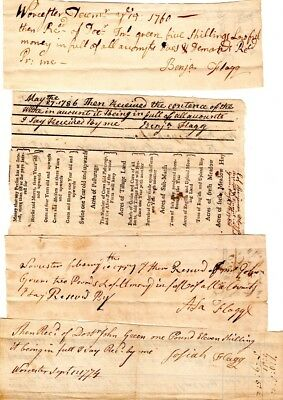 1760s, Flagg Family, Patriots, Soldiers, Worcester, Mass, signed payment docs
