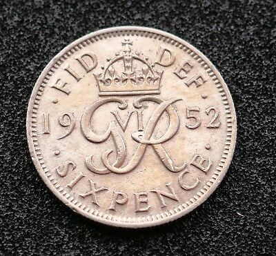 British - 1952 Sixpence -  scarce - Good Grade (368)