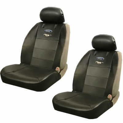 2PC Ford Mustang Pony Synthetic Leather Sideless Seat Cover Set