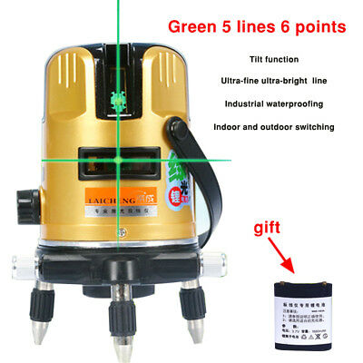 Green 3D Laser Level 5 Line Self Leveling Outdoor 360° Rotary Cross Measure Tool