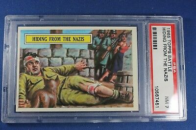 1965 Topps Battle Cards - #9 Hiding From The Nazis - PSA 7 Near Mint