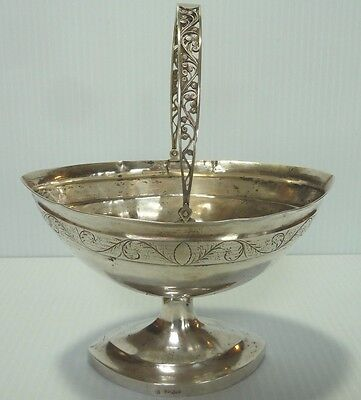Early 19Th C.solid Silver Sugar Basket, Northern Europe / Finland / Denmark?