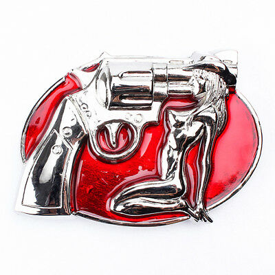 West Beauty Shaped Red Belt Buckle for Women Men Casual Clothing Accessory