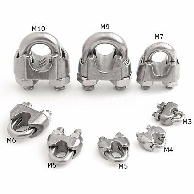 Stainless Steel U-Bolt Type M3-M10 Wire Rope Cable Clip U Clamp Ring Accessories