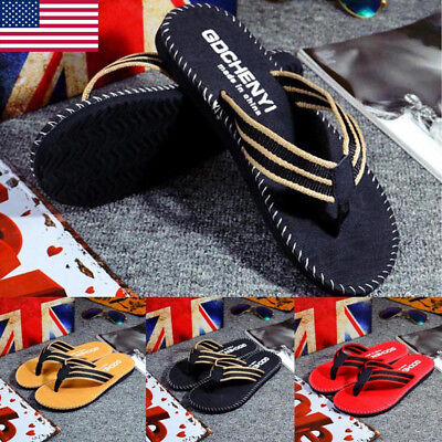 93d28e383fb9 Men s Summer Beach Pool Flip Flops Beach Slippers Home Casual Sandals flat  Shoes
