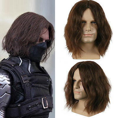 The Avengers Cosplay Costume Winter Soldier Bucky Barnes Brown Wig US SHIP!!!