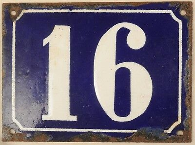 Large old blue French house number 16 door gate plate plaque enamel steel sign