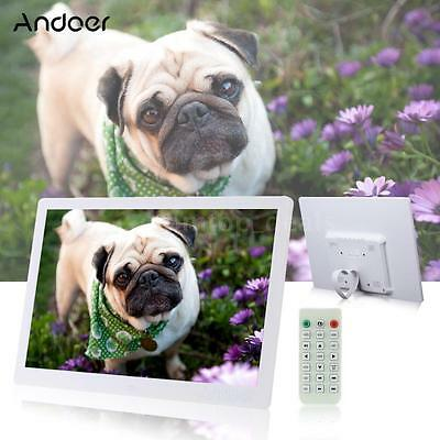 """15.6"""" HD LED Digital Photo Picture Frame Clock MP3/4 Player+Remote Control White"""