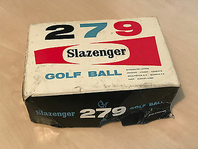 Box of Vintage Slazenger 279 Golf Balls inc 2 x Wrapped & 2 Used Balls