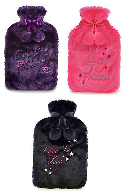 2 Litre Hot Water Bottle with Soft Furry Slogan Cover