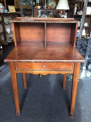 20th Century Leather Furnished French Fruit Wood Writing Desk With Drawer