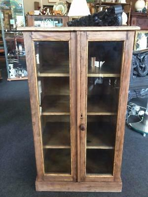 Vintage 20th Century Wooden Pitch Pine Rustic Glass Fronted Display Cabinet
