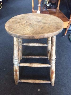Antique 19th Century Victorian Wooden Rustic Elm Stool