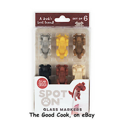 Spot On Dog Wine Glass Charms Asst Colors Set of 6 BPA-Free Silicone Boxed  New