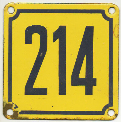 Old French house number 214 door gate wall plate plaque enamel steel metal sign