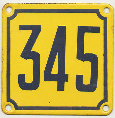 Old French house number 345 door gate wall plate plaque enamel steel metal sign