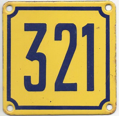 Old French house number 321 door gate wall plate plaque enamel steel metal sign
