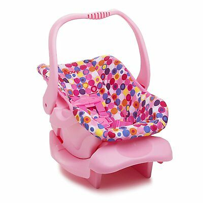 Joovy Toy Doll Pretend Play Children Rocker or Car Seat with Harness, Pink Dot
