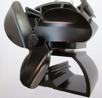 MINI Heat powered eco wood stove fan 3 Black blade  GENUINE VODA  12.5cm high !
