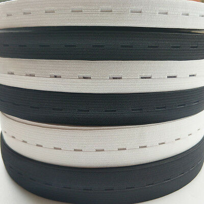 10Yards Elastic Bands Spool Sewing Band Flat Elastic Cord w/ Button Hole 3 Sizes