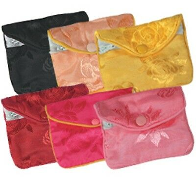 DOZEN Small Fancy Chinese Jewelry Pouches (ASSORTED COLORS)