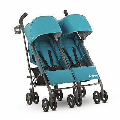 Joovy Twin Groove Ultralight Lightweight Umbrella Stroller w Canopies, Turquoise