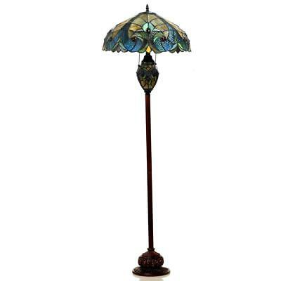 "Handcrafted 65"" Floor Lamp Stained Glass Gem-Like Cabochons Multicolor Blue"