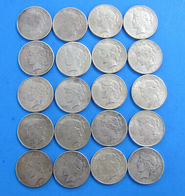 20 Coins (1 Roll) of 1923 US Peace Silver Dollars and Free Shipping *