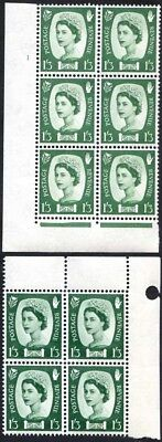 Northern Ireland NX15 1/3 Green Crowns Wmk Cyl 1 No Dot Block 6 Plus Block 4