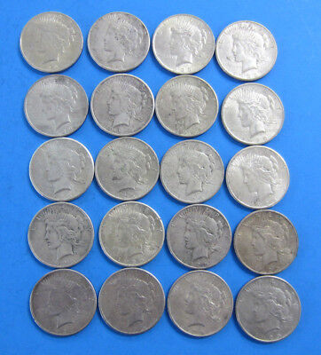 20 Coins (1 Roll) of 1925 and 1923 US Peace Silver Dollars and Free Shipping