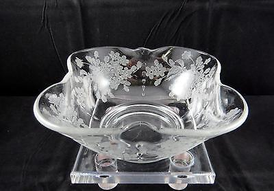 "Paden City Crows Foot Crystal Etched Ardith  9 1/8"" Square Top Bowl 1935"