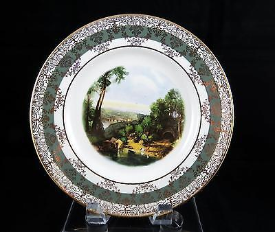 """Crown Ducal England Country Landscape Scene Gold Scroll 8 7/8"""" Cabinet Plate"""