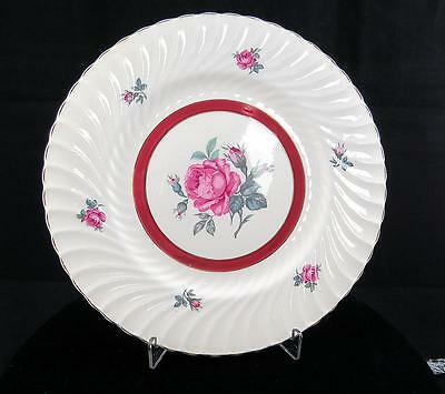 """Burgess & Leigh England Morning Rose Red Band Swirl 8 3/4"""" Salad Plate 1940-1960"""