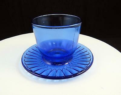 "Macbeth Evens Petalware Cobalt Blue 2 3/4"" Mustard Cup With Attached Under Plate"