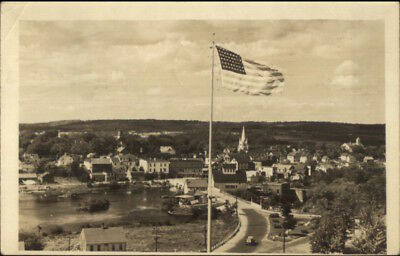 Machias ME & American Flag c1940 Real Photo Postcard