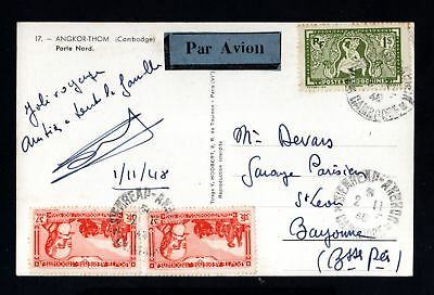 17034-CAMBODIA-OLD POSTCARD SIEM RIEP to BAYONNE (france) 1948.WWII.Cambodge