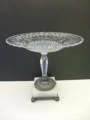 Pairpoint Victorian Aesthetic Cut Glass Crystal Silverplate Tazza Compote Candy