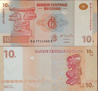 Congo 2003 10 Francs Unc Banknote P-93 Beautiful Wood Carvings From A Usa Seller