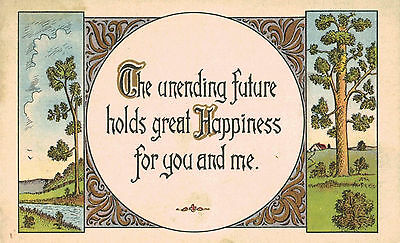 """Vintage Arts & Crafts Postcard,""""The Unending Future Holds Great...""""c.1920s"""