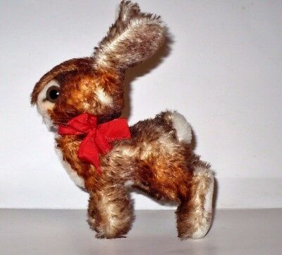 Vintage Steiff? Brown & White Rabbit With Red Bow Adorable