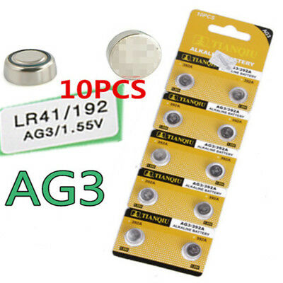 10PCS Alkaline AG3 LR41 392 SR41 192 1.5V Button Coin Cells Watch Battery Sturdy