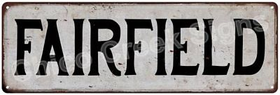 FAIRFIELD Vintage Look Rustic Metal Sign Chic City State Retro 6185958