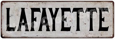 LAFAYETTE Vintage Look Rustic Metal Sign Chic City State Retro 6185966
