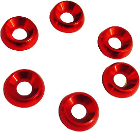 Kart Pack of Six M8 x 21mm Countersunk Washer Red New Karting Kart Parts UK