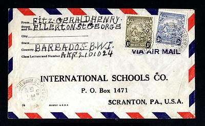 16914-BARBADOS ISLANDS-AIRMAIL COVER ST.GEORGE to SCRANTON (usa) 1950.British.