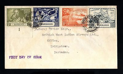 17026-BARBADOS ISLANDS-FIRST DAY COVER BARBADES to BRIDGETOWN.1949.WWII.British.