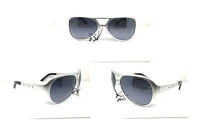 ELVIS SUNGLASSES ALL  METAL AVIATOR  SILVER Aluminum